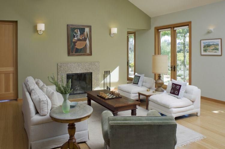 Grün Wohnzimmer weiße Möbel klassische Einrichtung | Wohnen ...
