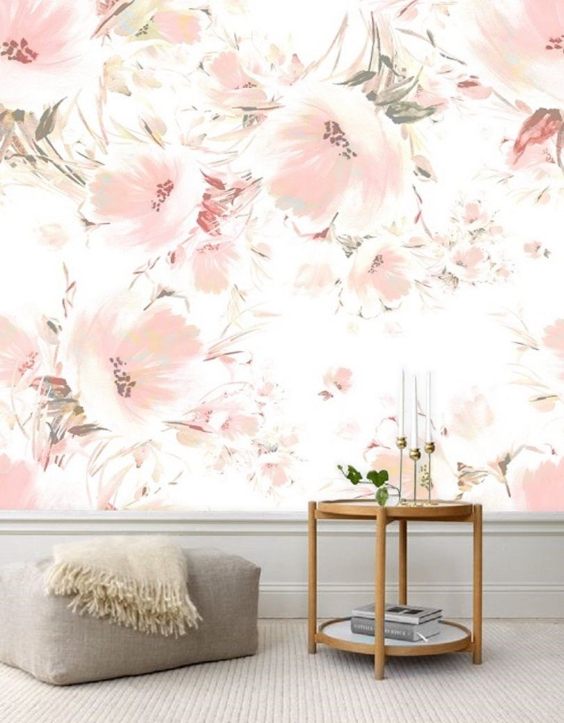 Pink Blush Peony Wallpaper Mural Removable Peel And Stick