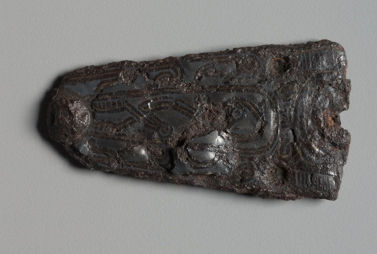 Clasp | Cleveland Museum of Art  Clasp, 600s Merovingian, Burgundian, Migration period, 7th century iron with silver overlay, Overall - h:7.70 w:3.85 cm (h:3 w:1 1/2 inches). Gift of the John Huntington Art and Polytechnic Trust 1918.930