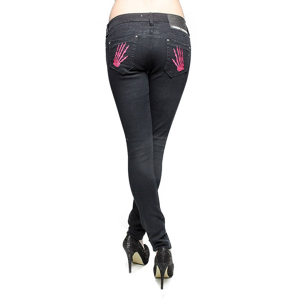 Criminal Damage Skinny Fit Jeans With Skeleton Hands (Black/Hot Pink)