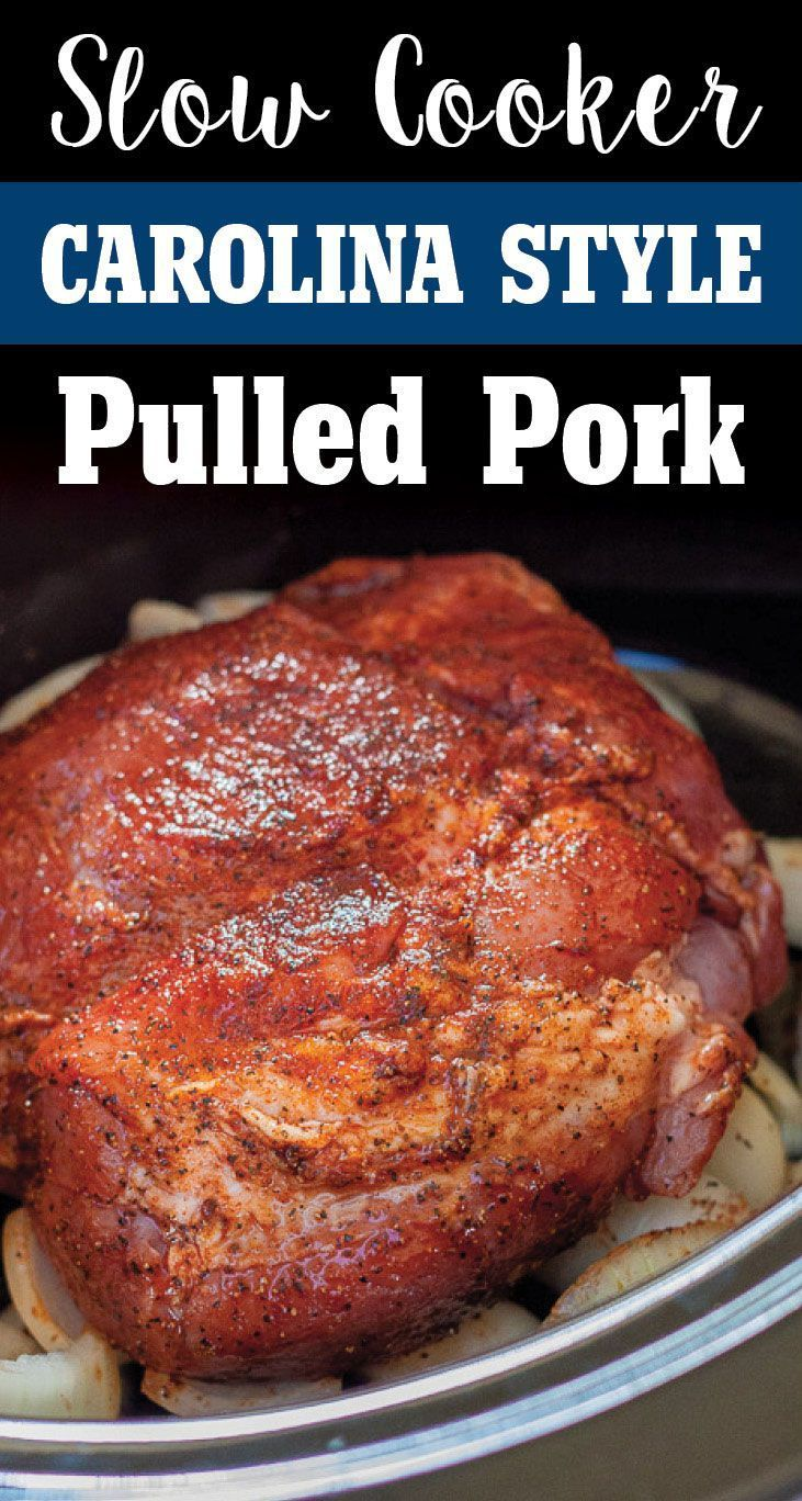 Easy Carolina Style Slow Cooker Pulled Pork by Plating Pixels. Rich spices and tangy broth make thi