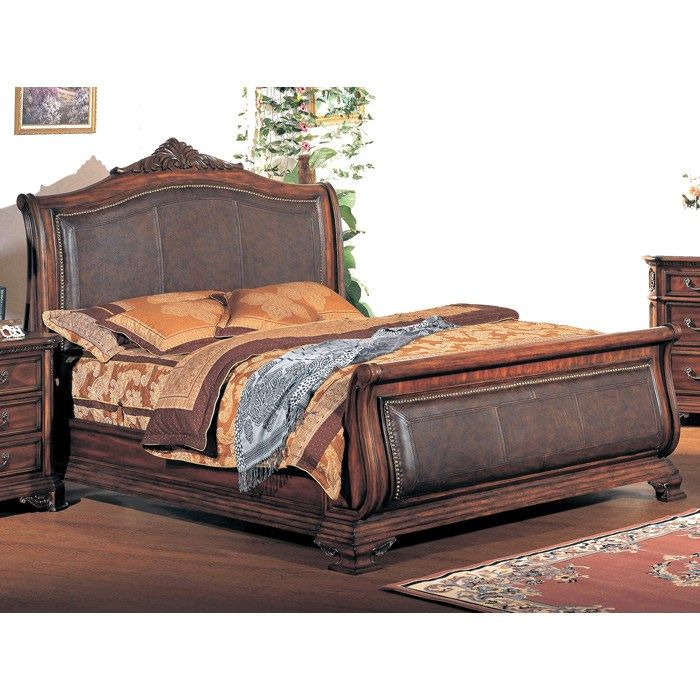 Tipton Sleigh Bed With Leather Headboard And Footboard Leather Sleigh Bed Sleigh Beds Headboard And Footboard