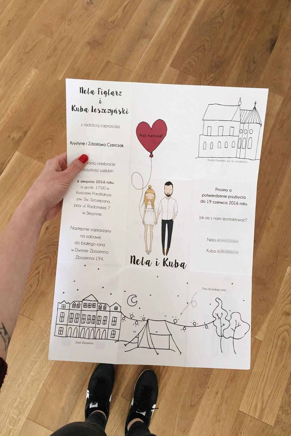 Personalised wedding invitations portrait by Blankaillustration ...
