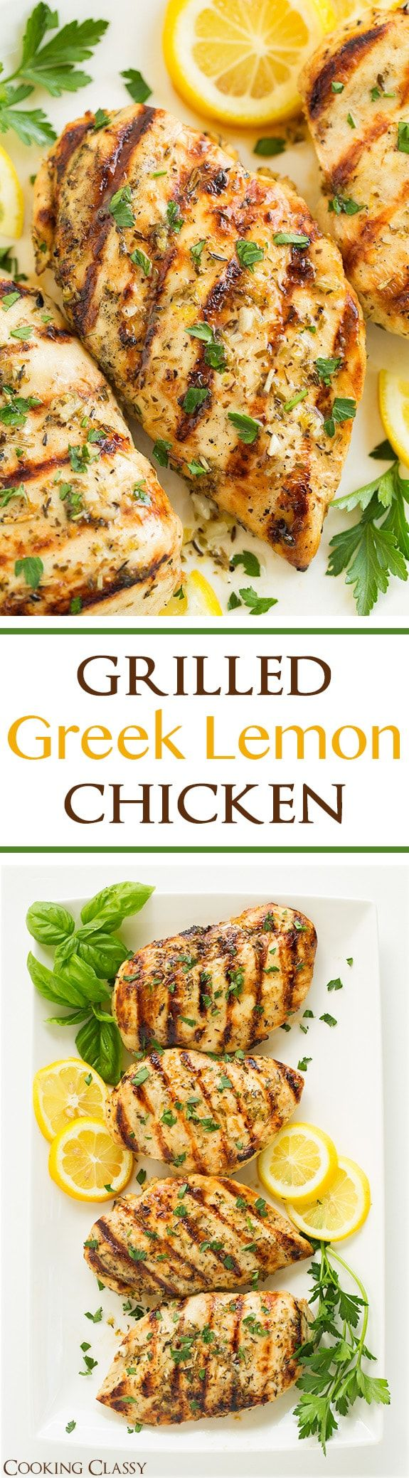 This Grilled Greek Lemon Chicken is bursting with fresh lemon flavor and is so easy to make! Chic