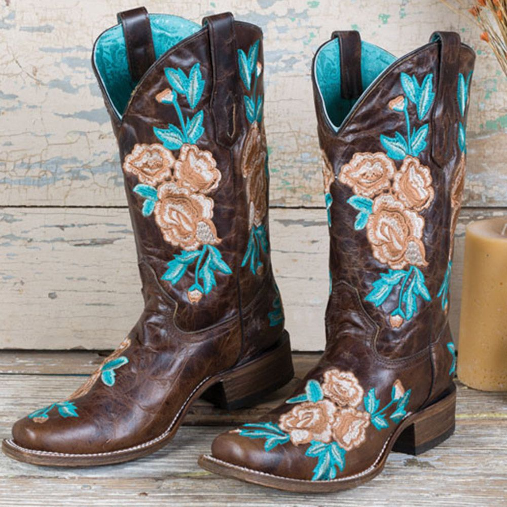 Womens Fashion Leather Embroidered Block Heel Western Cowboy Boots Shoes