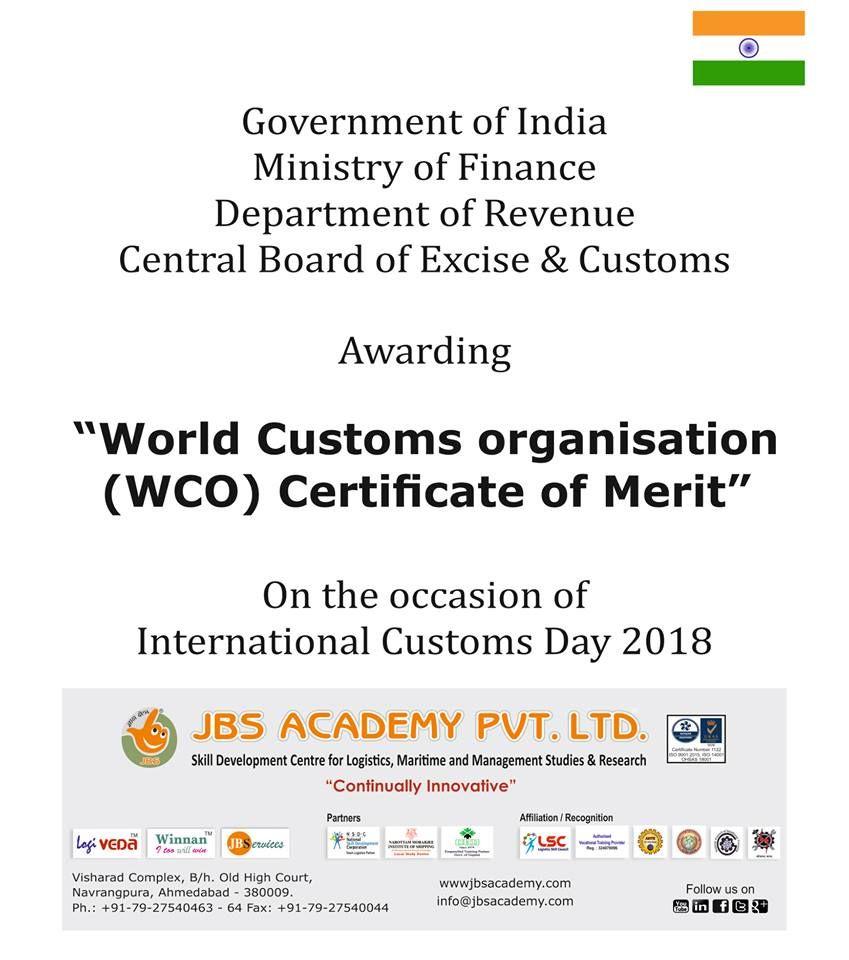 Goi Awarding Certificate Of Merit On The Day Of International Customs Day Certificate Of Merit Skills Development Custom