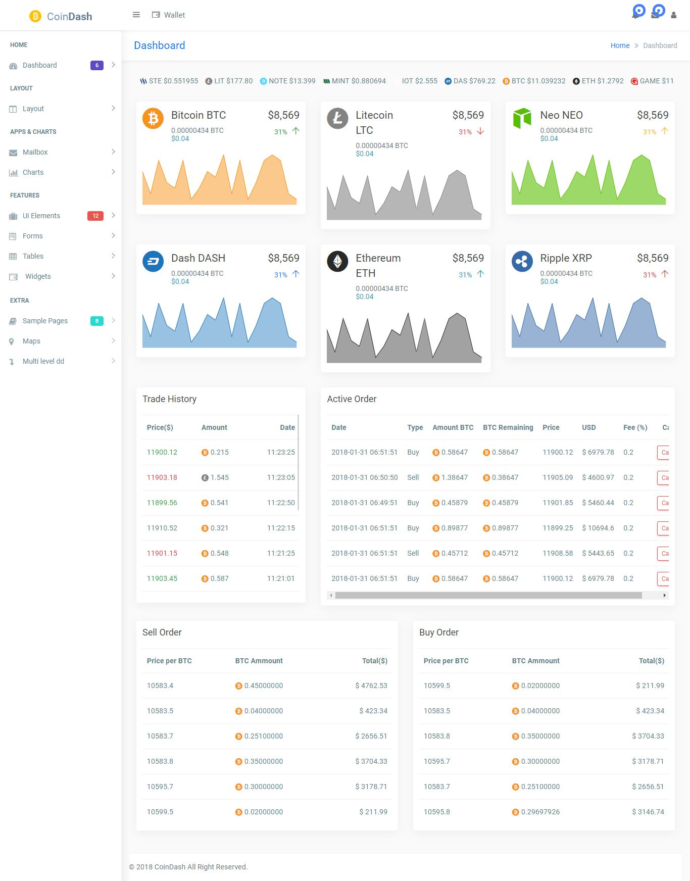 cryptocurrency dashboard admin html template is a multi. Black Bedroom Furniture Sets. Home Design Ideas