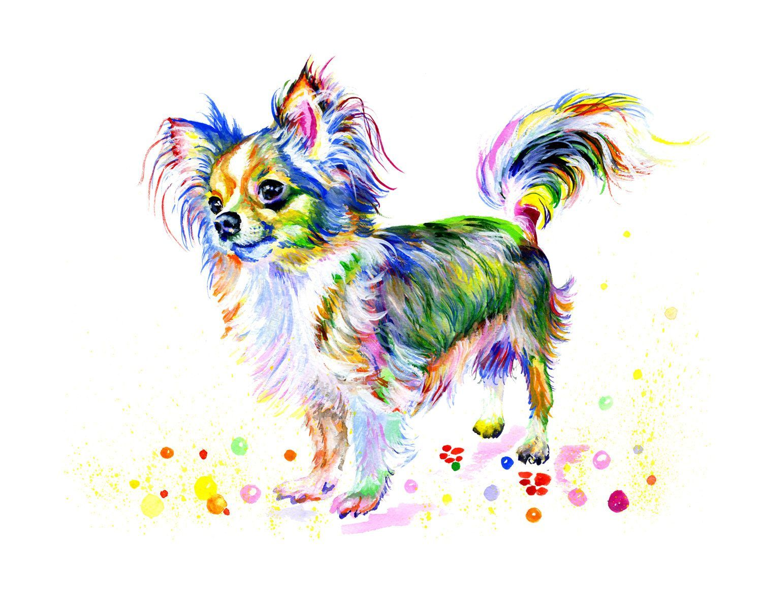 Chihuahua Art Print Dog Poster Watercolor Painting Digital Print