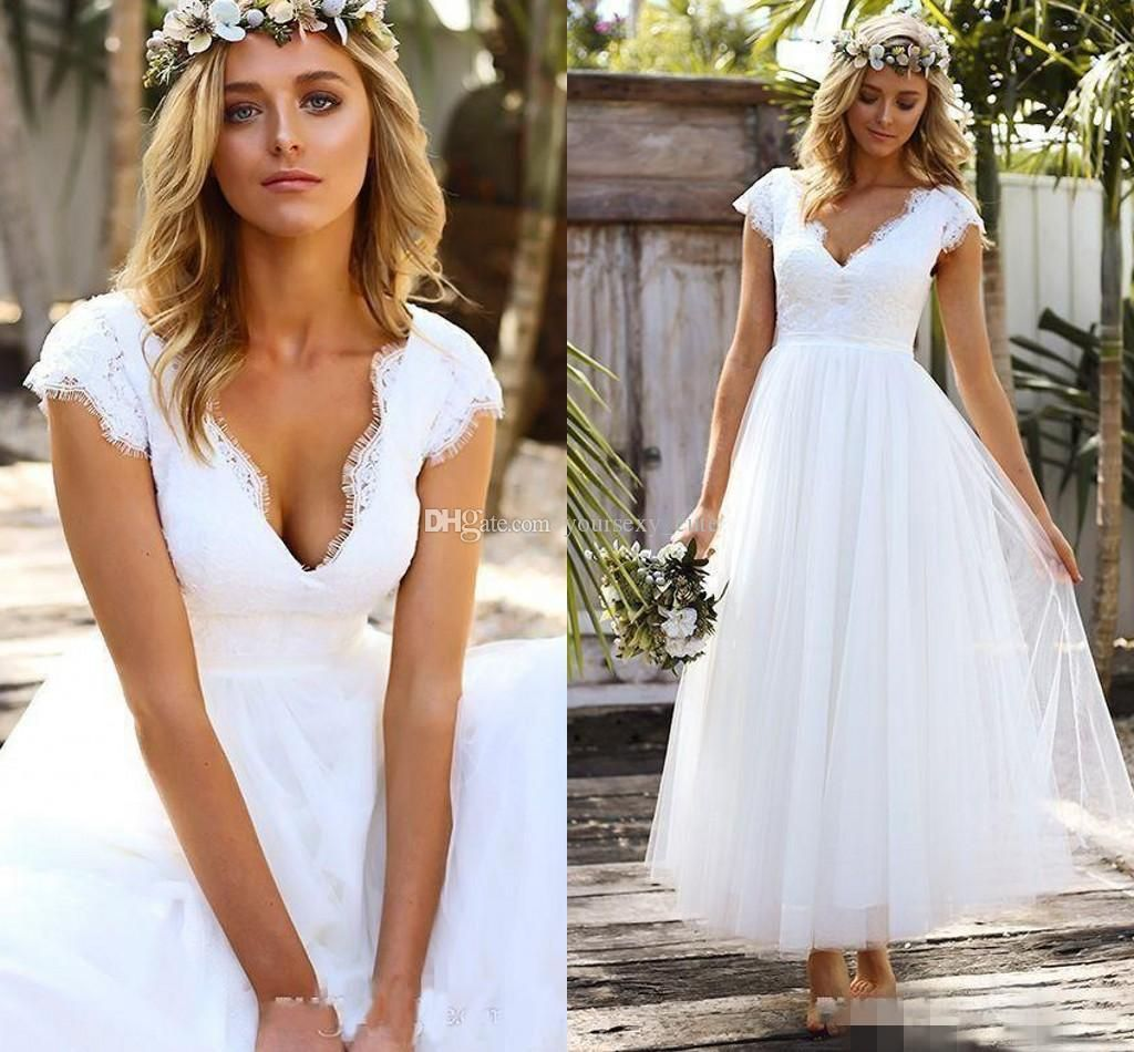 Short wedding dresses v neck lace tulle cap sleeves ankle length