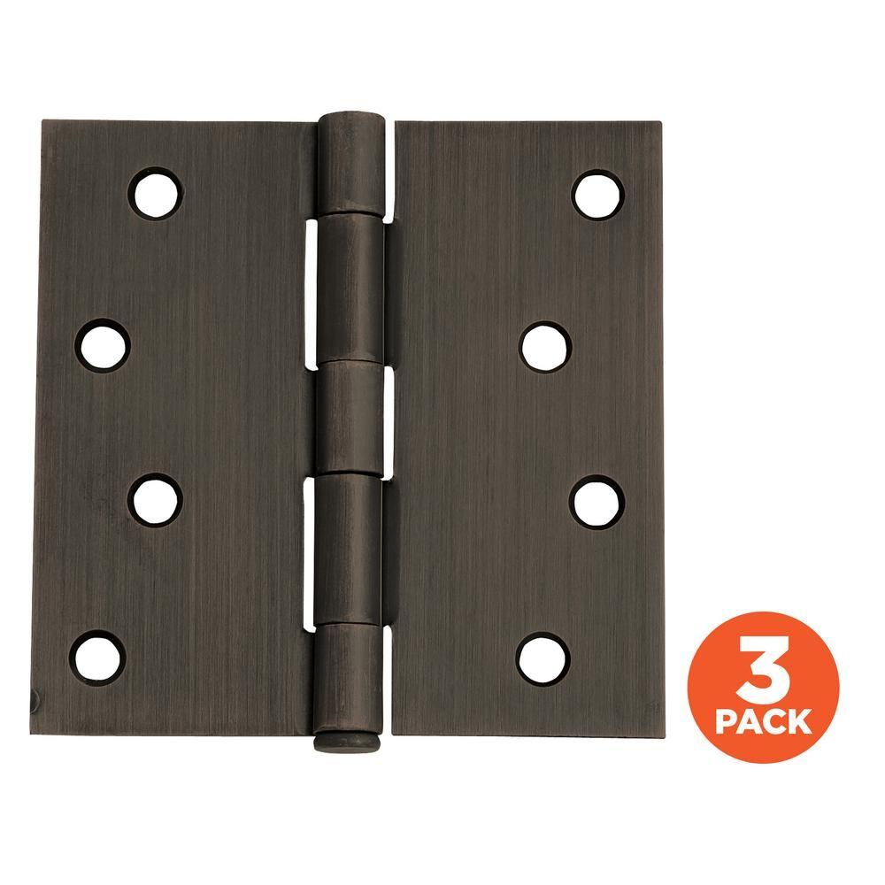 Design House 4 In Square Corner Oil Rubbed Bronze Door Hinge Value Pack 3 Per Pack Door Hinges House Design Sliding Door Handles