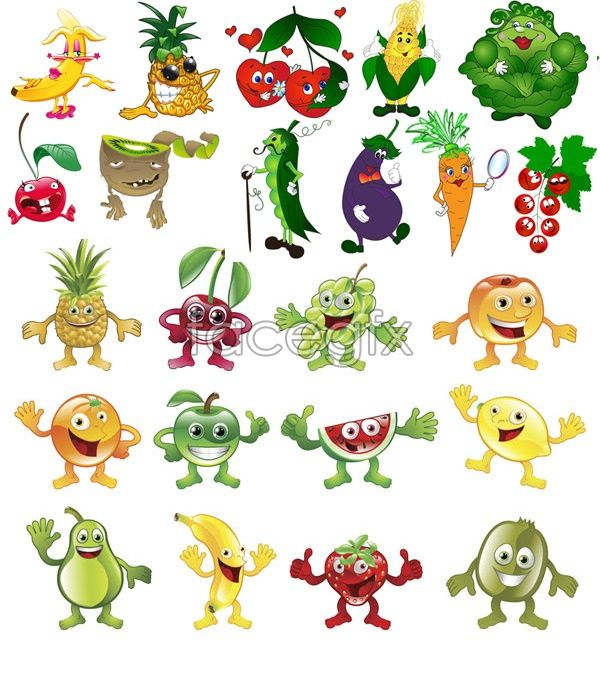 Free Download Fruits And Vegetables Cartoon Vector File