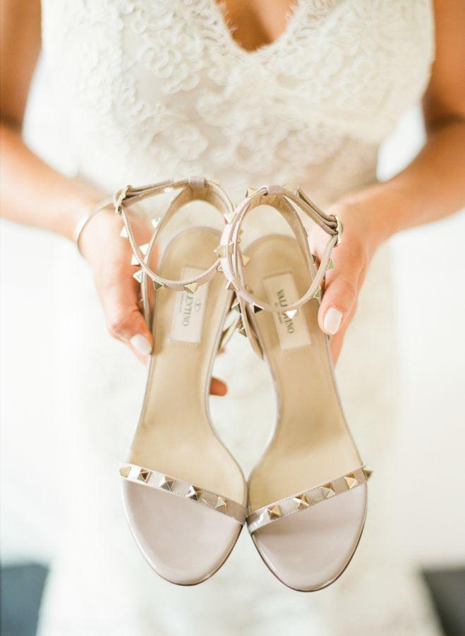 Studded nude Valentino heels: http://www.stylemepretty.com/new-york-weddings/saratoga-springs/2015/10/12/elegant-saratoga-springs-summer-wedding/ | Photography: Lindsay Madden - http://lindsaymaddenphotography.com/