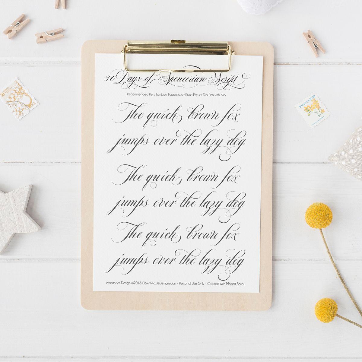 Spencerian Script Style Pangram Worksheets By Dawn