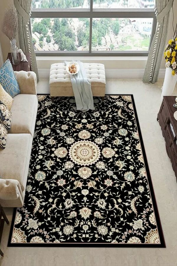 Youth Group Room Colors: Bohemian Floral Pattern Living Room Carpet In 2020