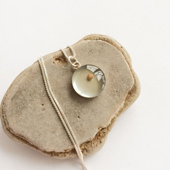 Vintage 1950s 1960s Round Charm with Real Seed Inside