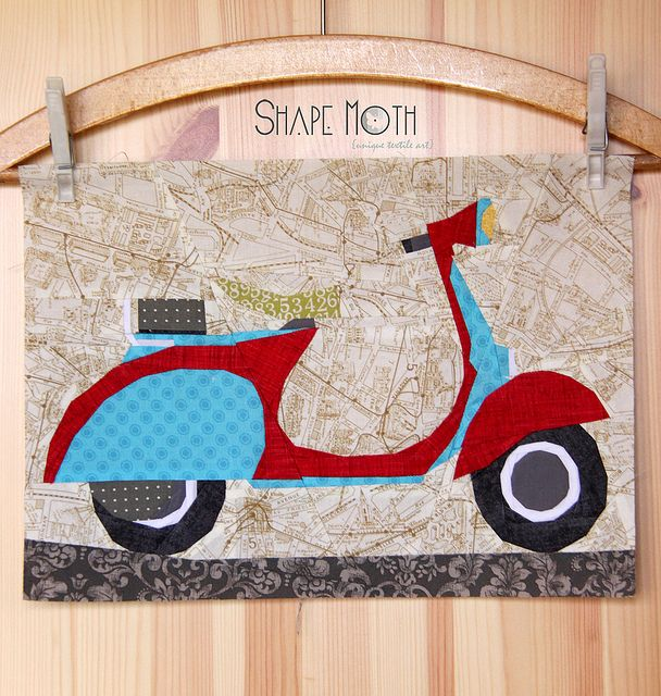 Vespa Scooter v.2\' paper piecing pattern by ShapeMoth, via Flickr ...
