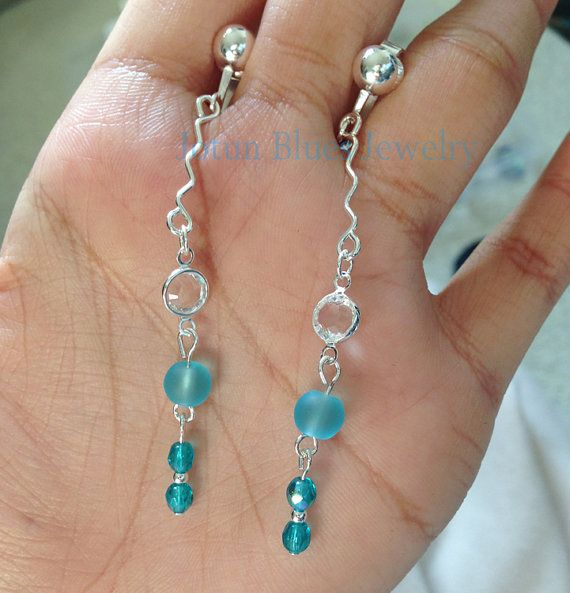 Wavy slim earrings with swarovski crystals, Blue sea glass and Czech glasses. Available in Ear Hook on Etsy, $14.59