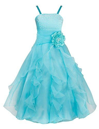 dbfec00b4a0b TIAOBU Girls Princess Organza Flower Tutu Wedding Party Pageant Gown ...