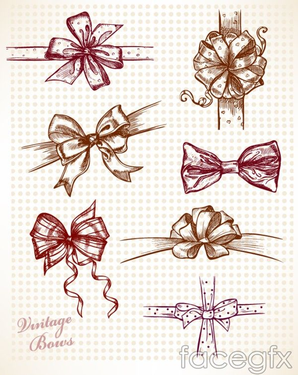Beautiful hand-painted bow vector