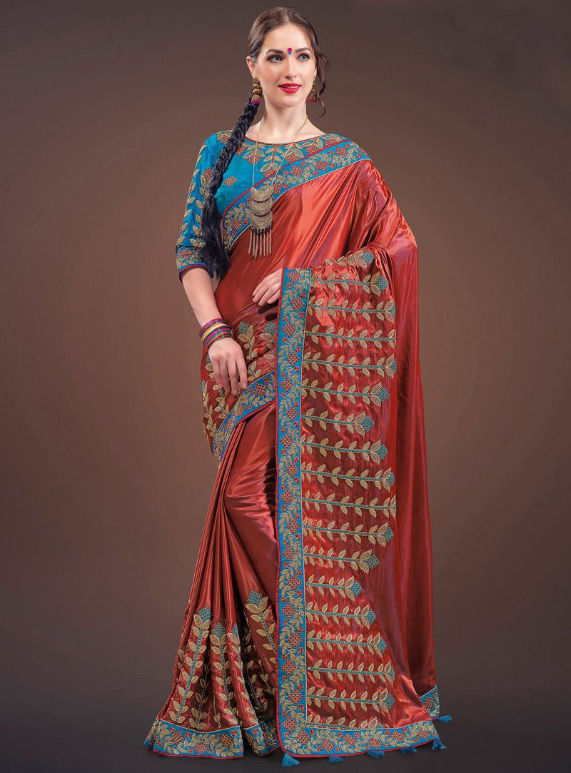 Off saree model images red silk patch lace work saree   silk saree  pinterest  red