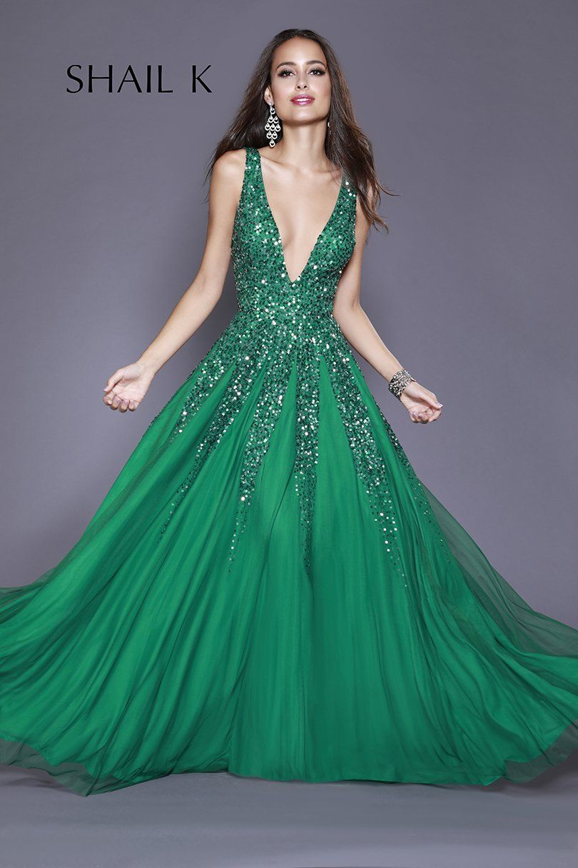 2fd11b654a3290 Shail K Dresses Plunging Neckline Low Back Sequin Dress 12134  #dressoftheday #prom #ootd #shailkusa #fashion