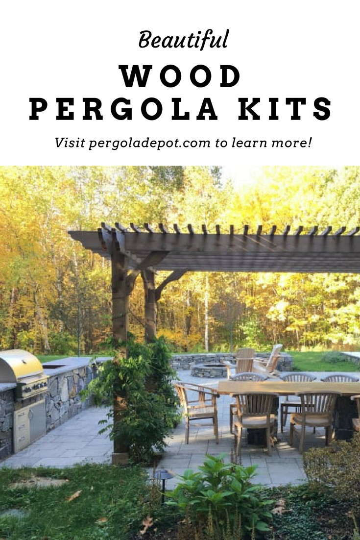 This Is Outdoor Living At It S Finest A Beautiful Patio Space Complete With Dining Table Outdoor Kitchen Area A Firepit With Images Pergola Wood Pergola Rustic Pergola