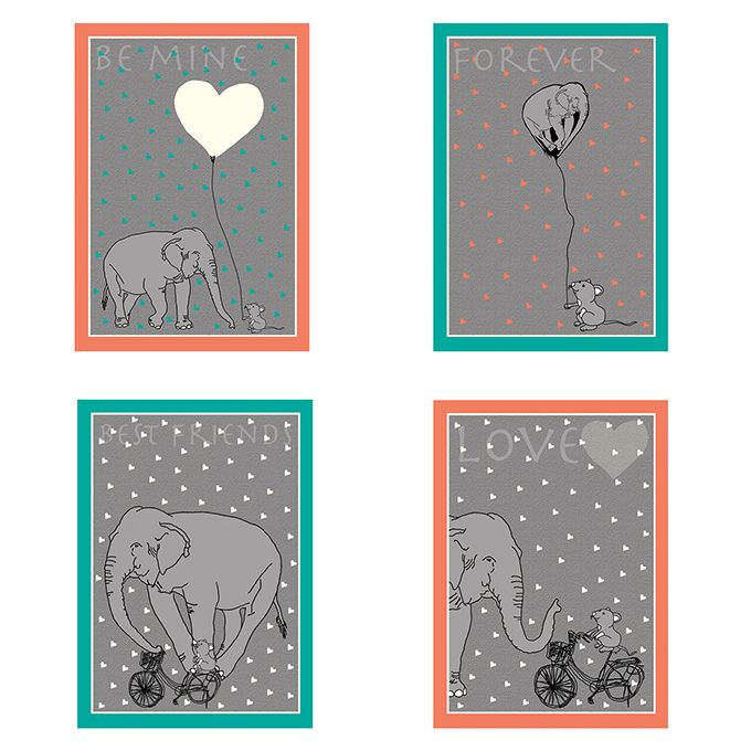 Valentines cards set of 4 designs www.bymarie.co.uk #Valentines #Valentinesday #Valentinesgift #Valentinescard #elephantandmouse #elephant #mouse #love #bymarie