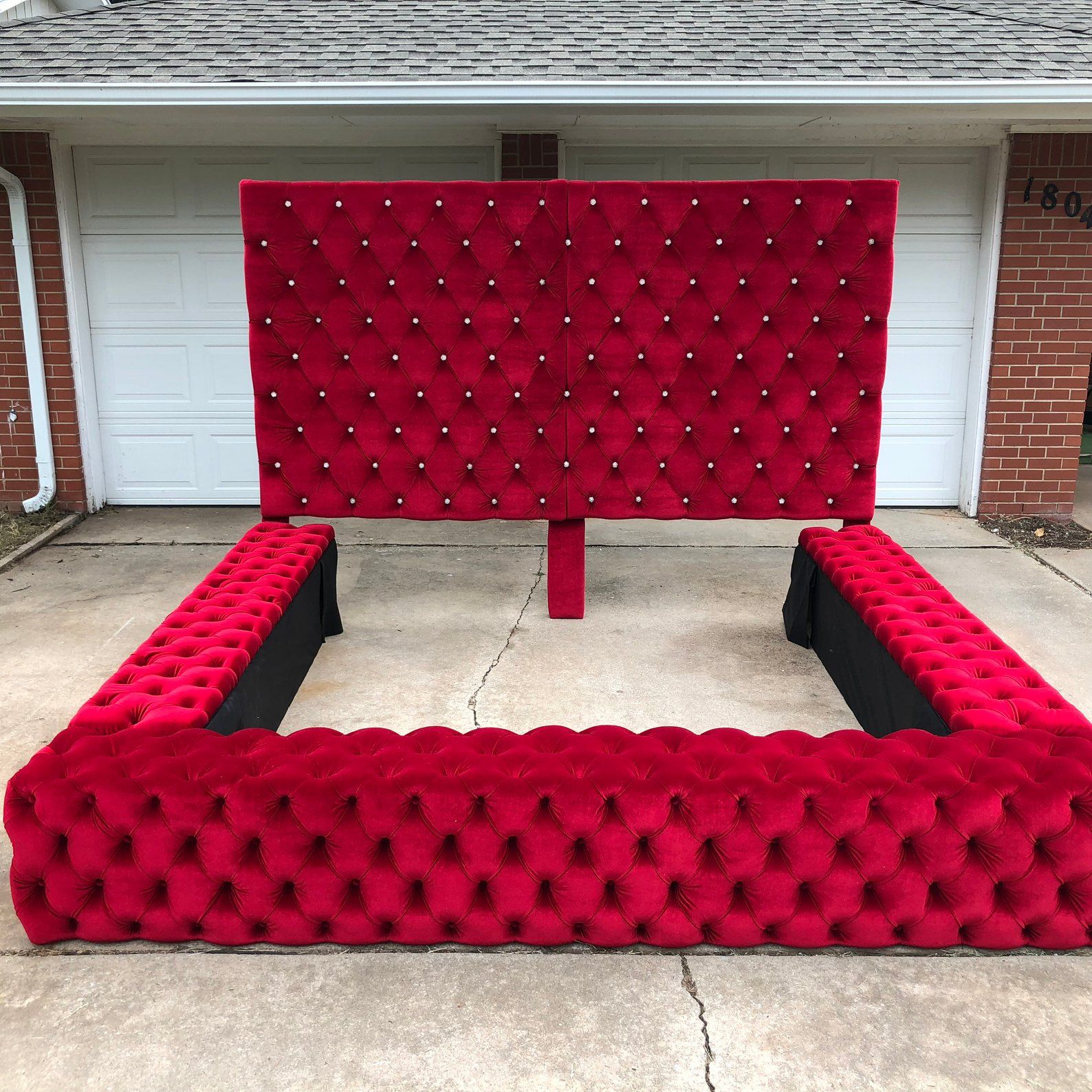 Tufted Velvet Platform Bed Wide California King Queen Full Twin Bed Frame Diamond Tufted Tall Upholstered Headboard Made To Order Twin Bed Frame Upholstered Headboard Bed Design