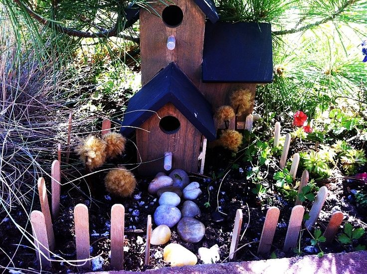 diy fairy house accessories  popsicle stick fence. #shadecontainergardenideas