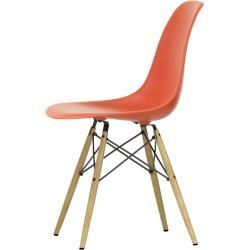 Designer furniture  Eames Plastic Side Chair Dsw with felt pads poppy redash natural VitraVitra