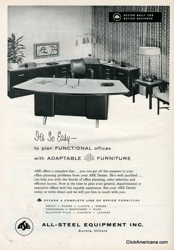 Sleek and modern office furniture 1958 Office furniture and