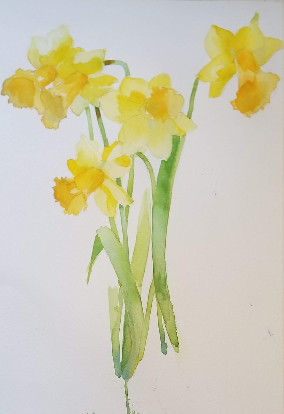 Laura S Watercolor Floral Painting Flower Card For Beginners I Wandered Lonely A Cloud Daffodil Symbol