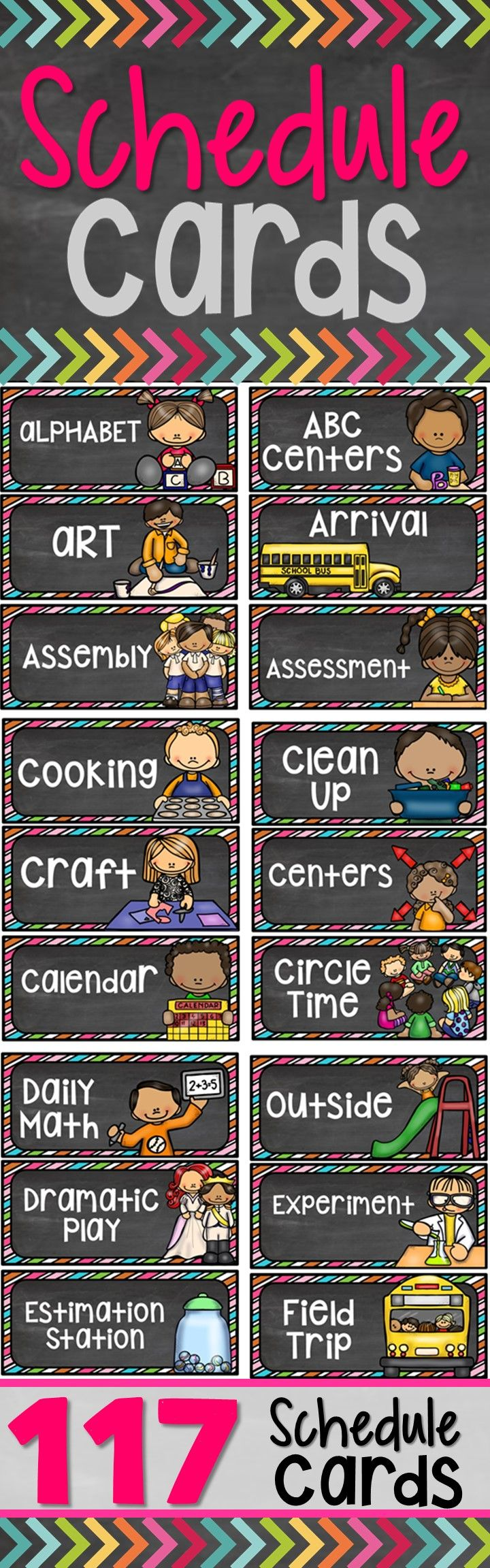 This Schedule Cards Pack includes TWO versions : (117 editable & 117 non-editable schedule cards). Choose which one will work best for your classroom.  The Daily Schedule is designed to provide structure and accountability to the students, yet allow freedom and flexibility.   How to use: Just print, laminate, and you are ready to go!