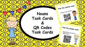 Task cards are great and even more fun when combined with QR codes!QR codes are fun and easy to use. Download a QR code reader onto your iPad, tablet or smart phone and you are ready for some serious classroom fun! Students can identify Nouns, write their answer on their answer sheets and immediately check their work by scanning the QR code on their task card.Task cards can be used without using the QR codes.