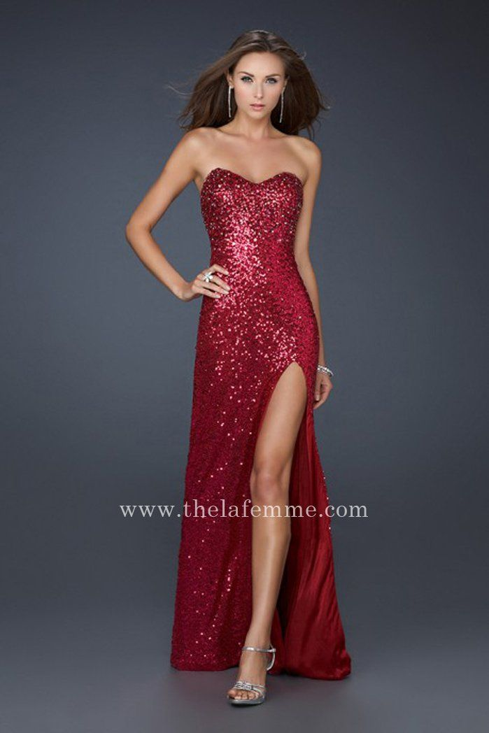 Full Sequin Red La Femme 17526 Front Slit Sweetheart Prom Dresses