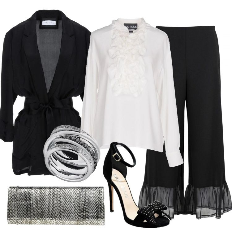 Outfit elegante per una serata fuori: giacca bianca con
