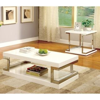 Overstock White Coffee Table.Furniture Of America Lolie White Gloss Coffee Table Overstock Com