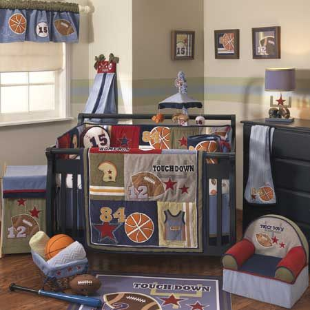 Nursery Sports Theme Classic Primary Colors Fun Baby Boy