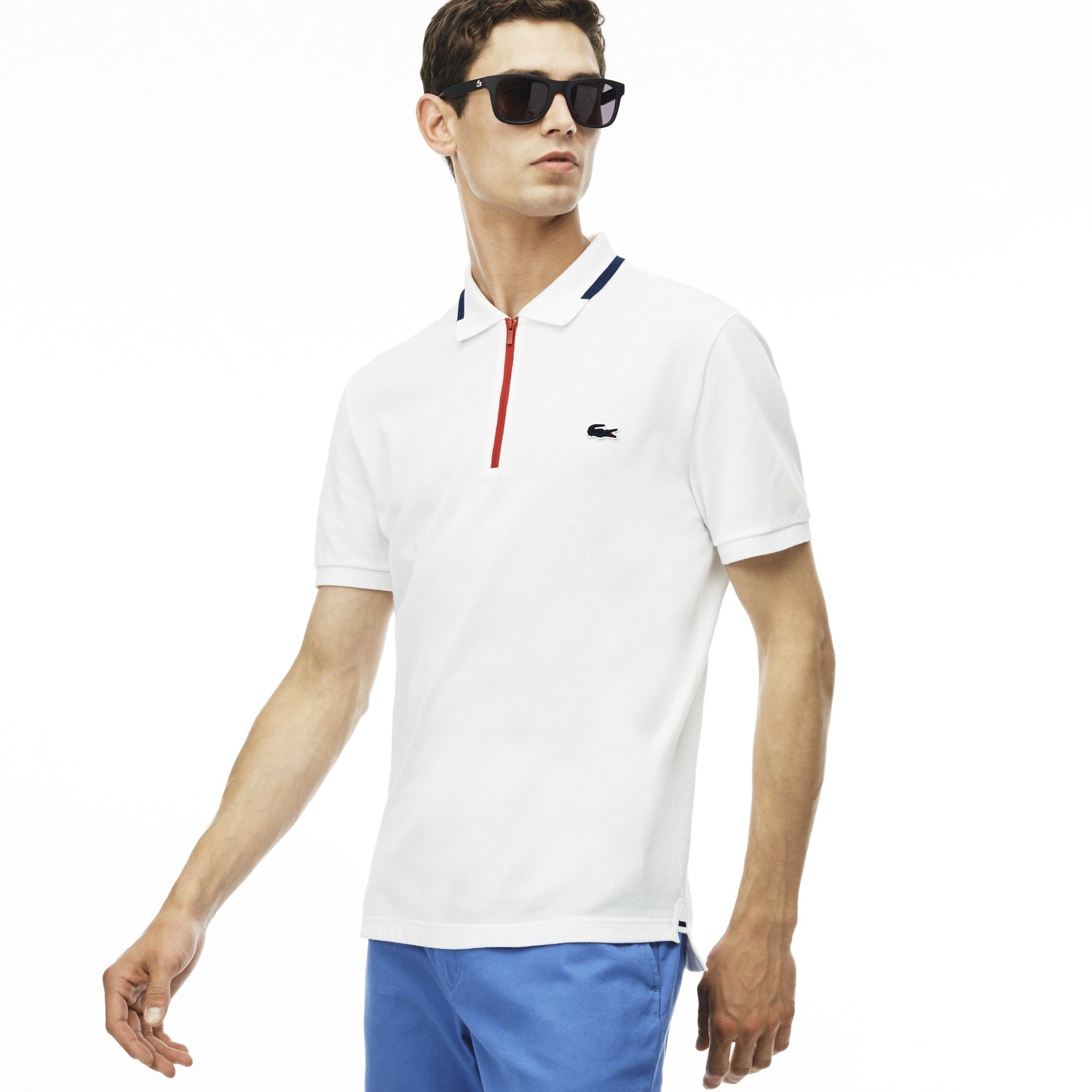 9b4b82a5 LACOSTE Men's Made in France Slim Fit Zippered Polo Shirt - white ...