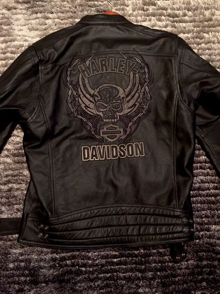 Harley Davidson Mens Medium Reflective Leather Jacket Limited Collection Rare Harley Davidson Merchandise Long Sleeve Tshirt Men Harley Davidson