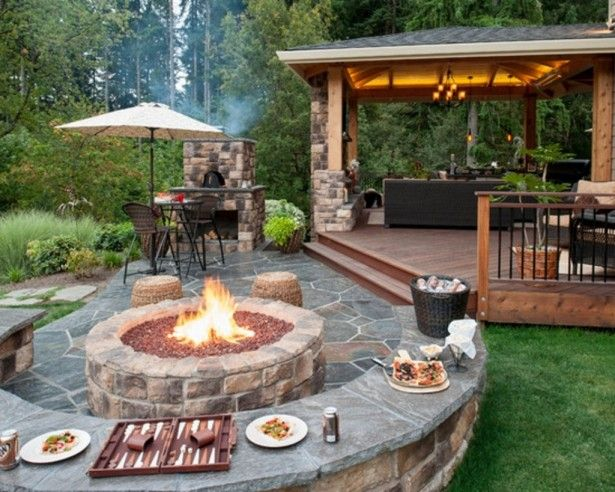 Outdoor, Flagstone Patio Ideas On A Budget With Unique Round Fire Pit For  Impressive Patio