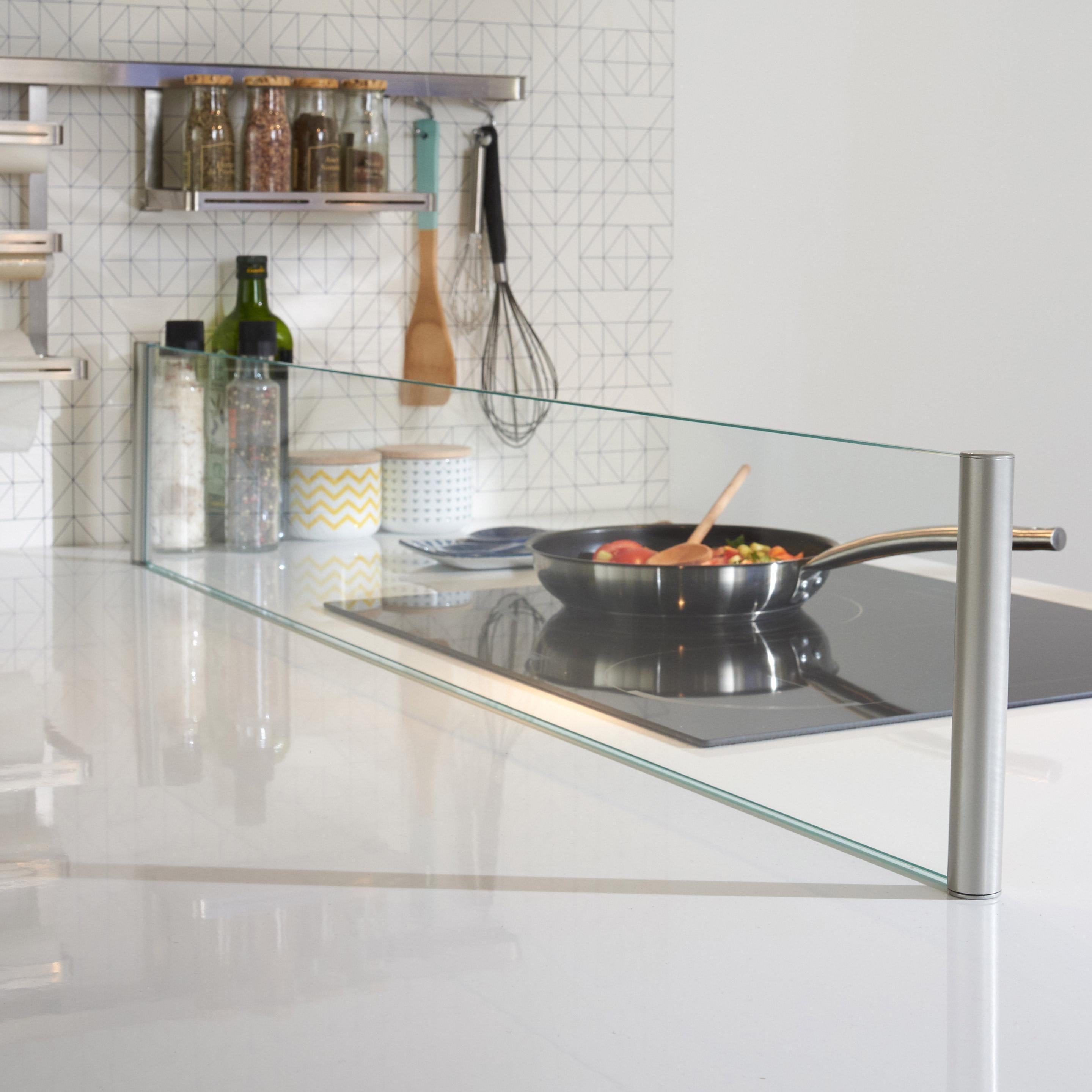 Credence Verre Ilot Central protection verre pour ilot, transparent l.120 x l.20 cm
