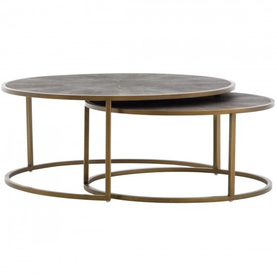 Shagreen Nesting Coffee Table, Brass images
