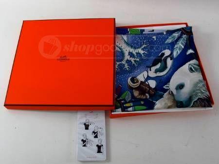 084295f9798c Hermes Paris 100% Silk Scarf in Original Box - | Shopgoodwill.com ...