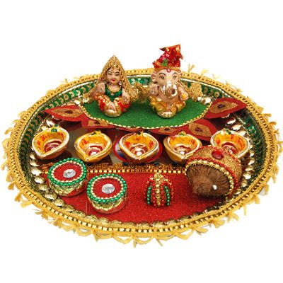 Tips and ideas about diwali pooja thali decoration so for Aarti thali decoration ideas for ganpati