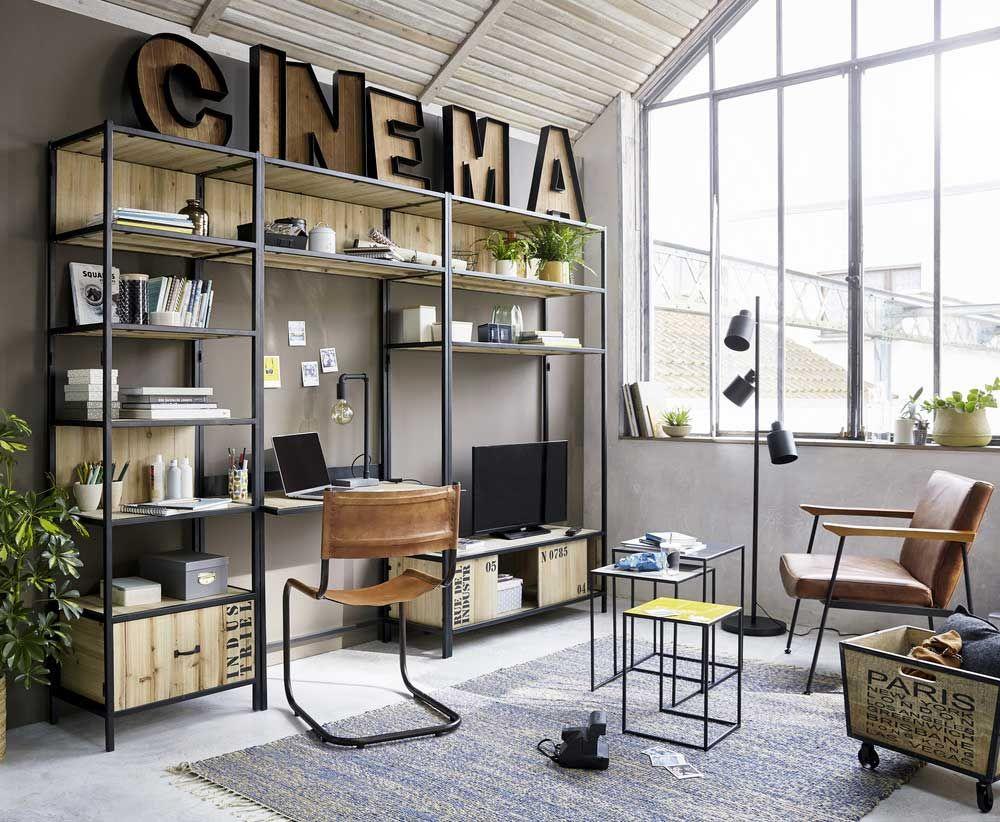 Pareti attrezzate per soggiorno in stile industriale | Fill your ...