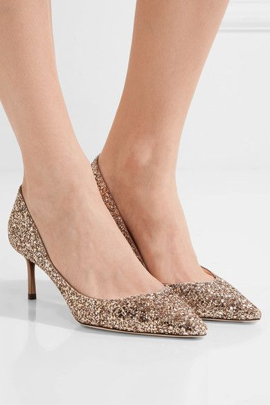 8fd205fdfe1 Heel measures approximately 60mm  2 inches Gold glittered leather Slip on  Made in Italy