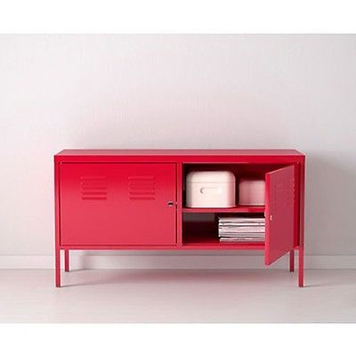 Red Tv Dvd Lcd Stand Entertainment Center Unit Cabinet Lockable Metal Ikea Ps