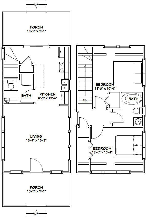 Make This A One Bedroom With The Ensuite Above The Kitchen And A Large Walk Through Closet Pdf House Plans G Garage House Plans Tiny House Plans Floor Plans