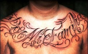 Familia Lettering Tattoo On Chest For Men Tattoos For Guys Tattoo Lettering Tattoos